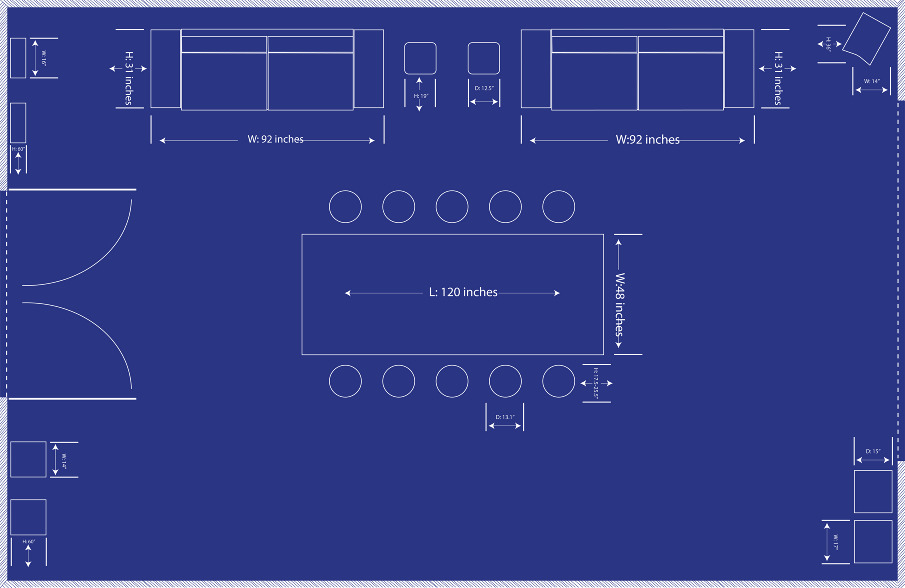 Blueprint Interior Design employee lounge presentaion booklet mural // interior design